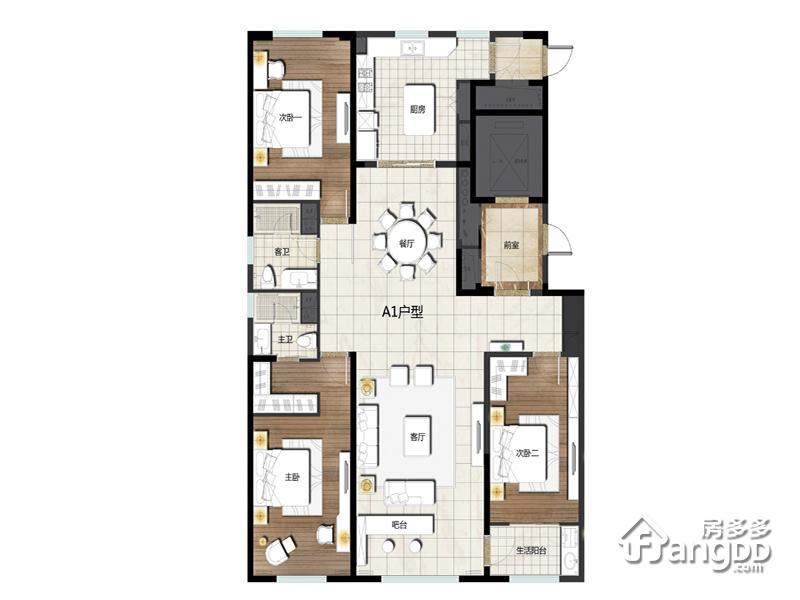 卓信E·H·O国际社区3室2厅2卫户型图