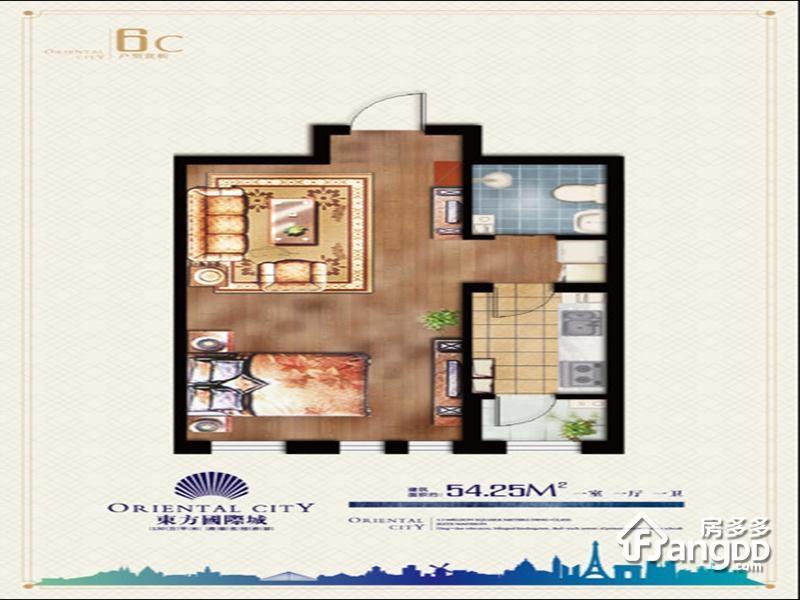 东方国际城1室1厅1卫户型图