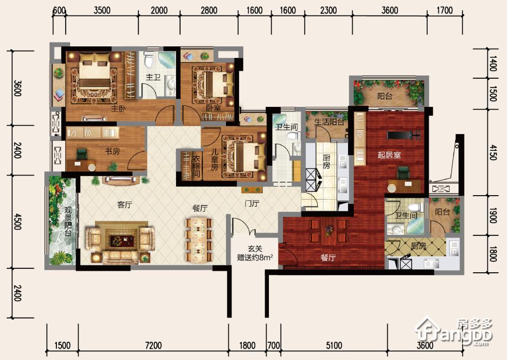 中央国际5室3厅3卫户型图