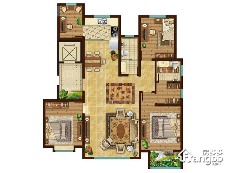 北京宫馆4室2厅2卫户型图