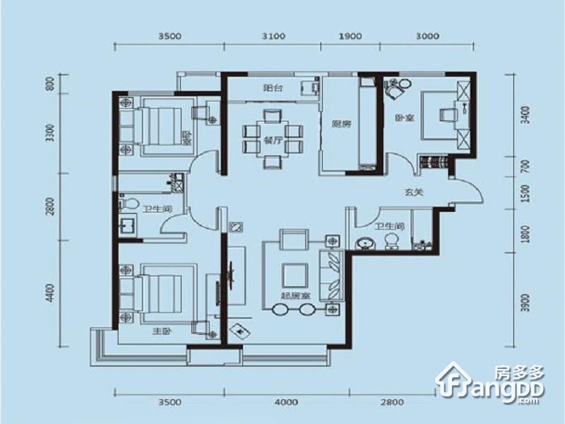 天津富力新城3室2厅1卫户型图