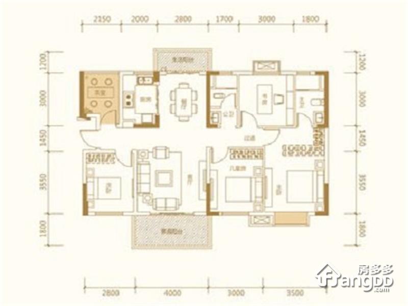 新华联梦想城4室2厅2卫户型图