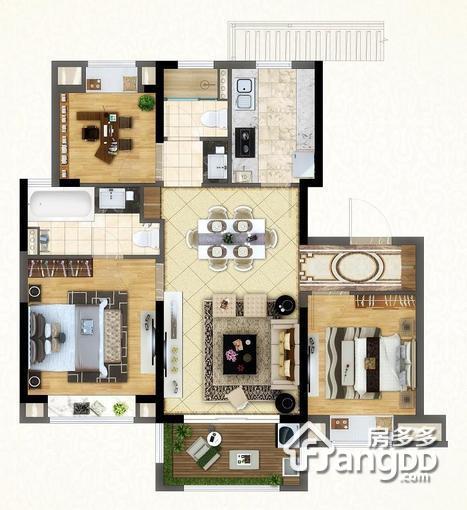 小高层105平 3室2厅2卫105㎡