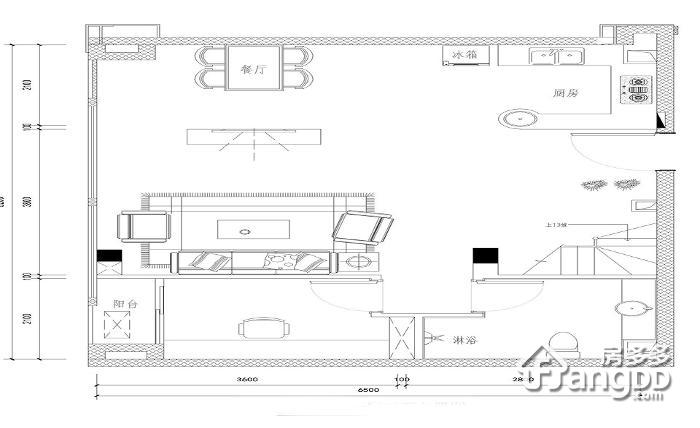 新景国际城2室1厅1卫户型图