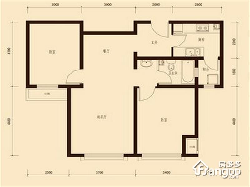 中海公园城2室2厅1卫户型图