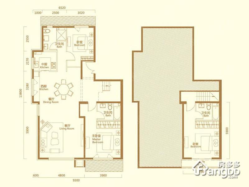 天恒摩墅3室2厅3卫户型图