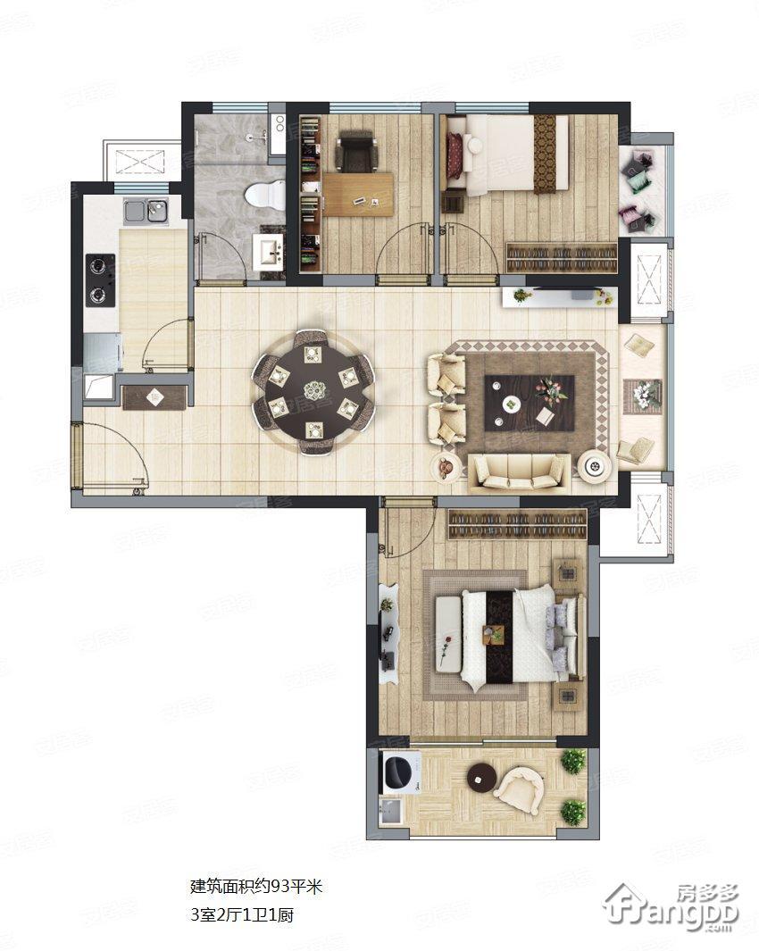 长泰海滨城3室2厅1卫户型图