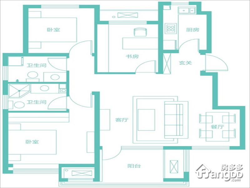隆基泰和香邑澜湾3室2厅2卫户型图