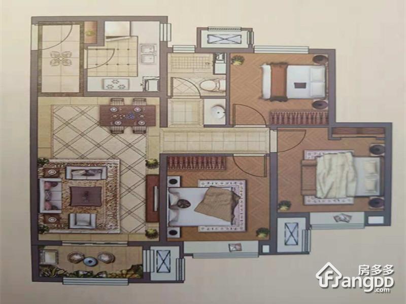 天津新城樾风华3室2厅1卫户型图