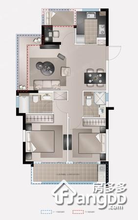 新城璟隽公馆3室2厅2卫户型图