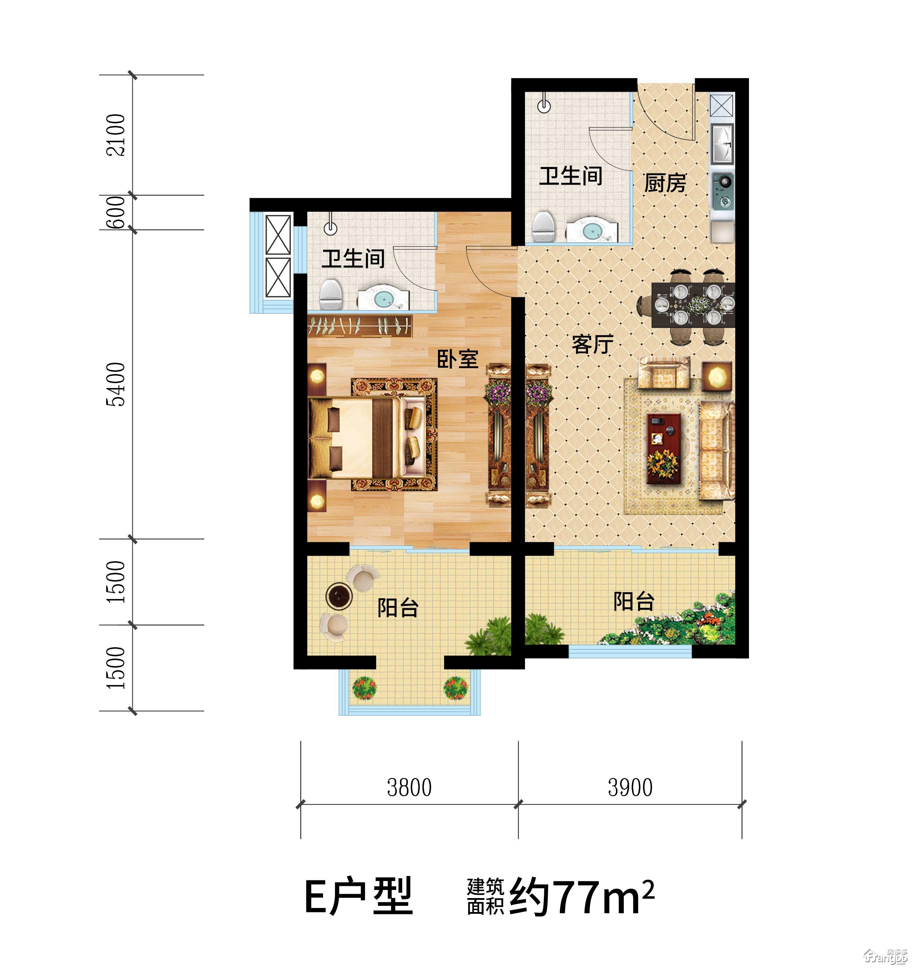 天目·观山月1室2厅2卫户型图