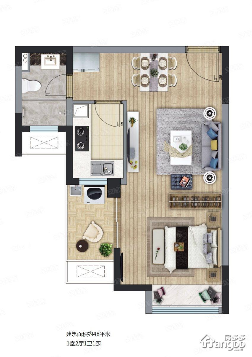 长泰海滨城1室2厅1卫户型图