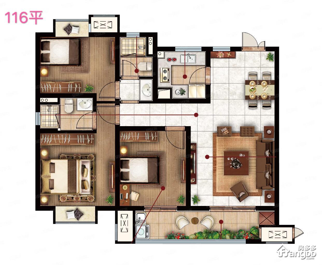 保利吴樾东方3室2厅2卫户型图