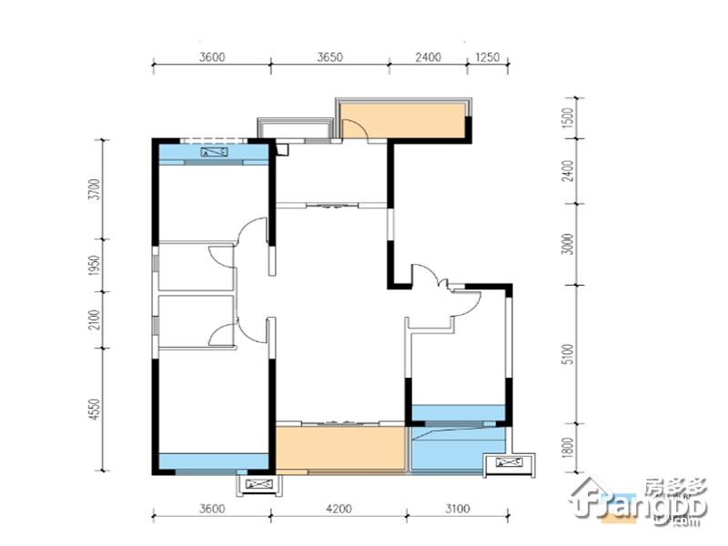 滨江·翡翠城3室2厅2卫户型图