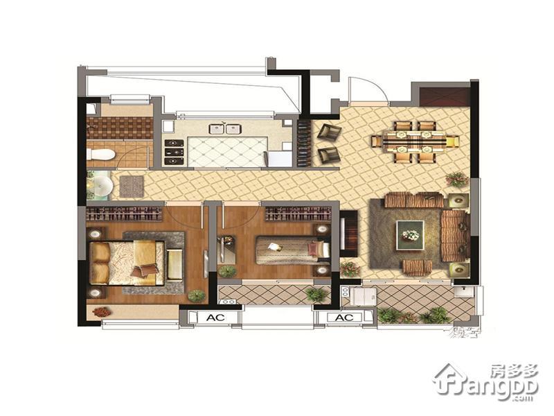 同润金色橘苑2室2厅1卫户型图