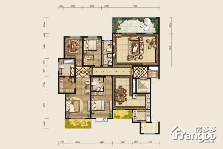 石鼓天玺台4室2厅3卫户型图