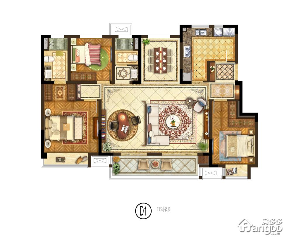 保利融侨时光印象3室2厅2卫户型图