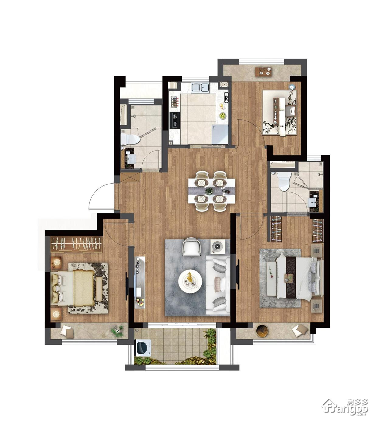 云麓之城3室2厅2卫户型图