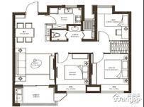 新城西岸公园3室2厅1卫户型图