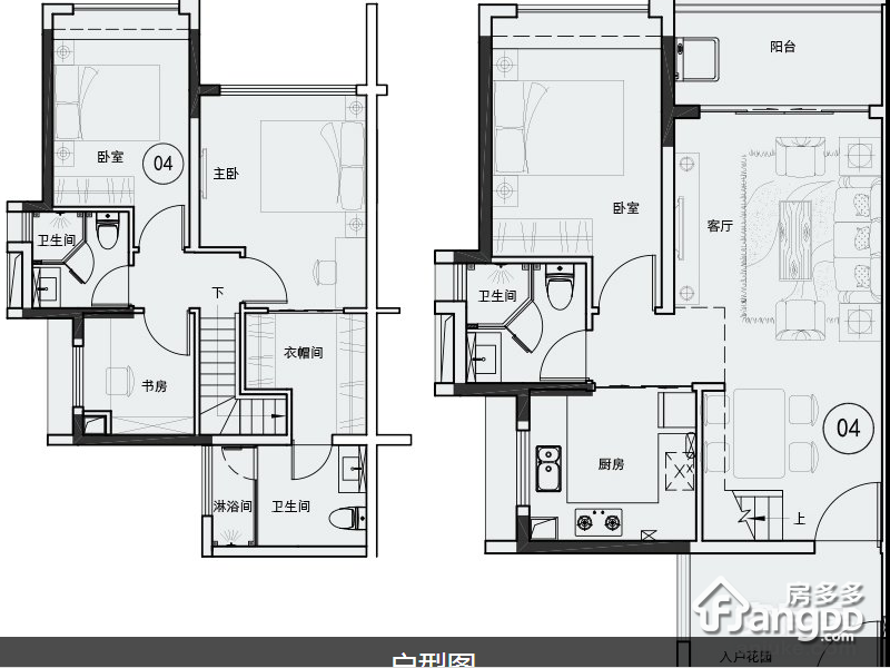 越秀东坡4室2厅3卫户型图