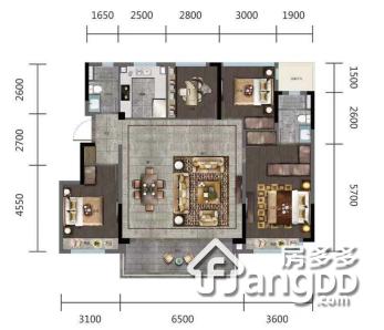 金地玖峯汇4室2厅2卫户型图
