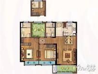 新江北 孔雀城3室2厅2卫户型图