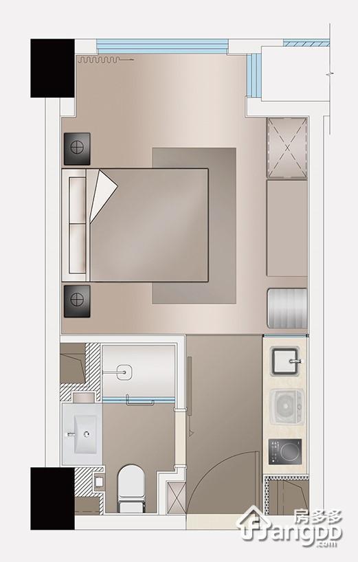 新城璟隽公馆1室1厅1卫户型图
