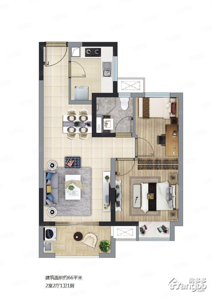 长泰海滨城2室2厅1卫户型图