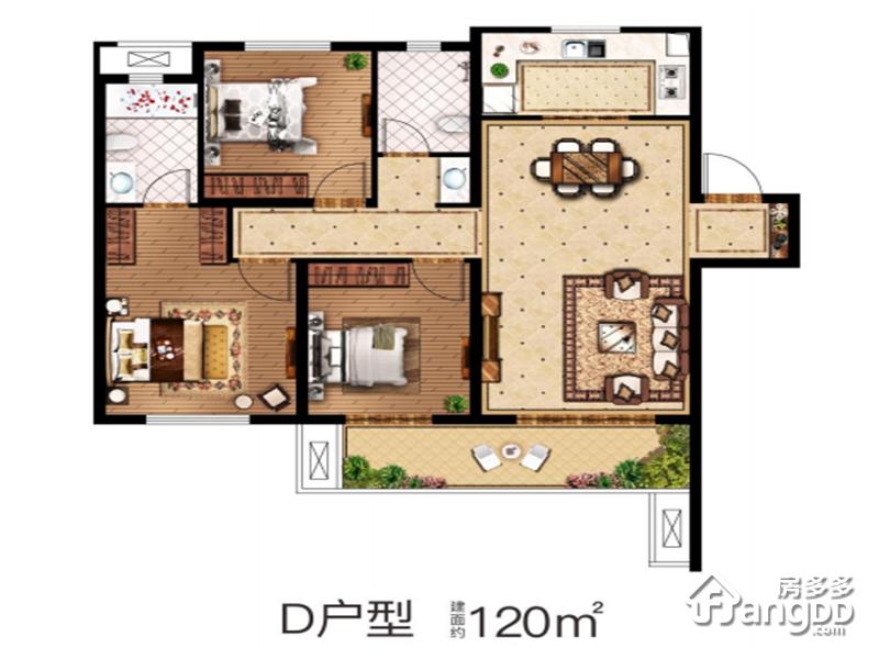 中南菩悦东望城3室2厅2卫户型图