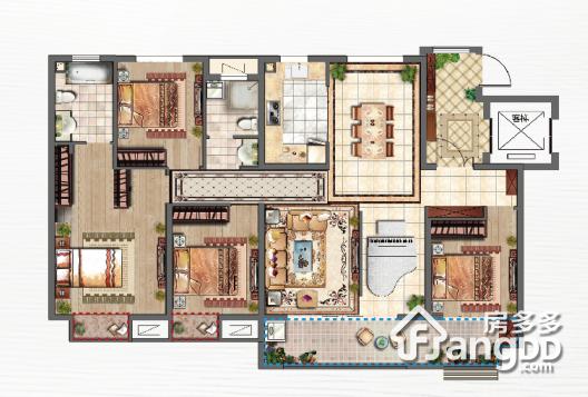 中南·熙悦4室2厅2卫户型图