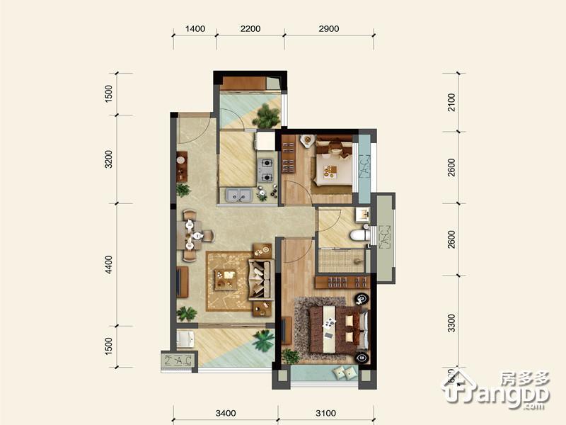 中骏·云景府2室2厅1卫户型图