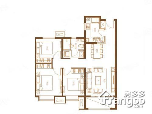 宝鸡富力湾3室2厅1卫户型图