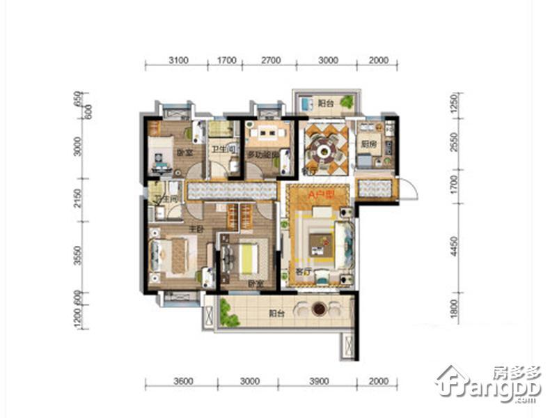 碧桂园•凤凰城4室2厅2卫户型图