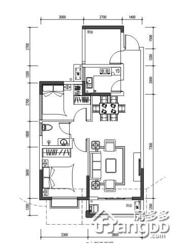 鸿基·君临天下2室2厅1卫户型图