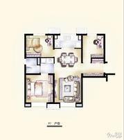 万科-西庐3室2厅1卫户型图