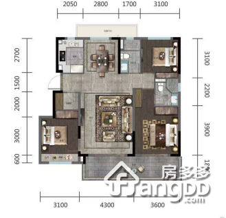金地玖峯汇3室2厅2卫户型图