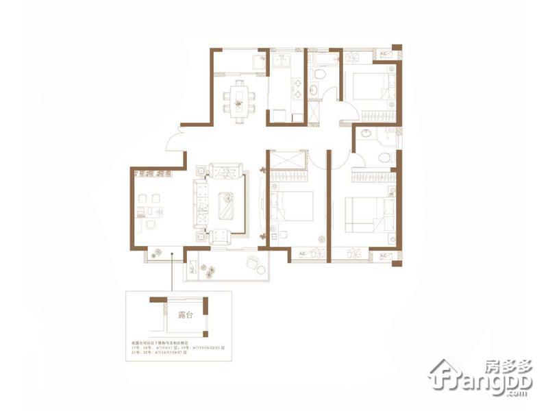 阳光里3室2厅2卫户型图