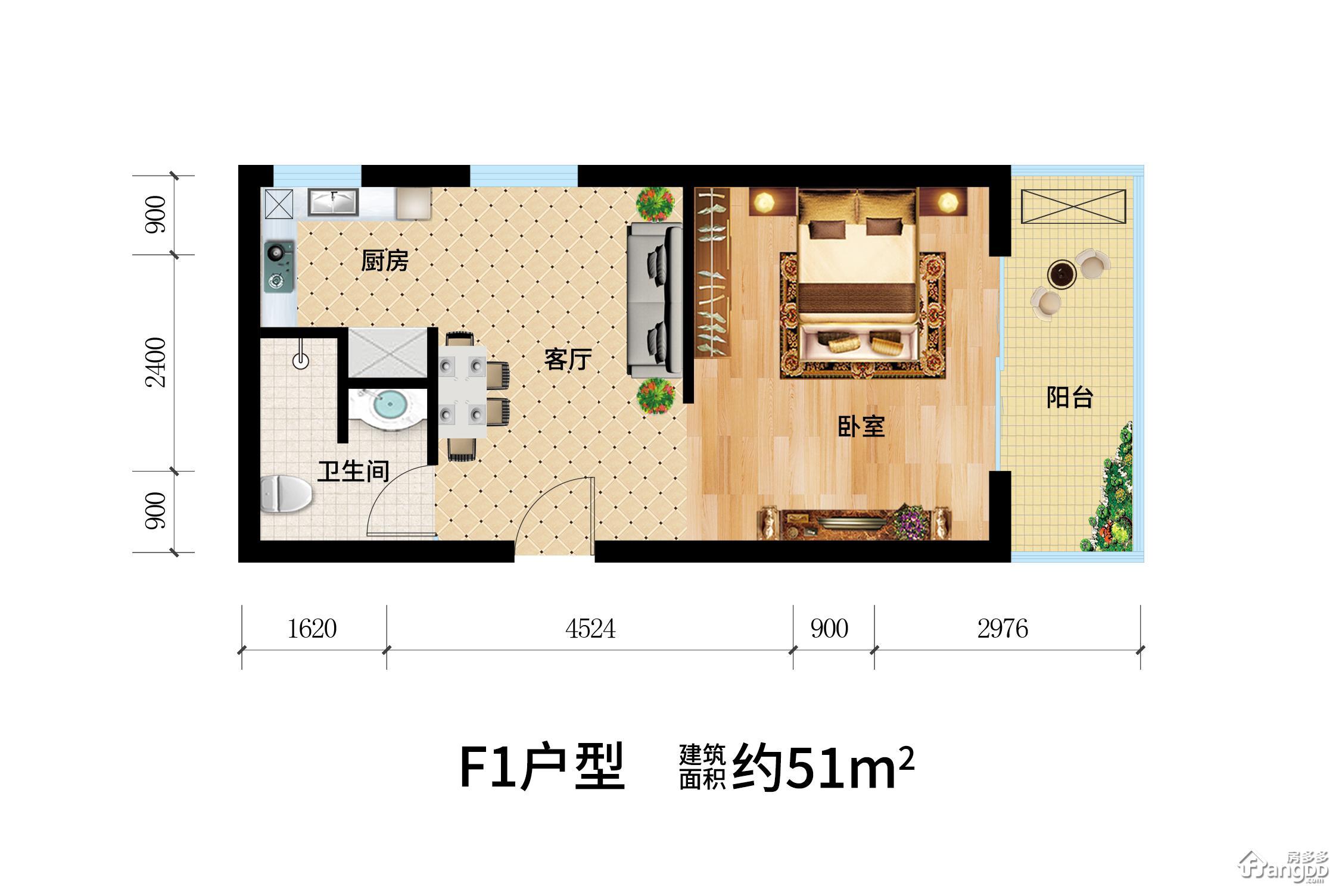 天目·观山月1室1厅1卫户型图