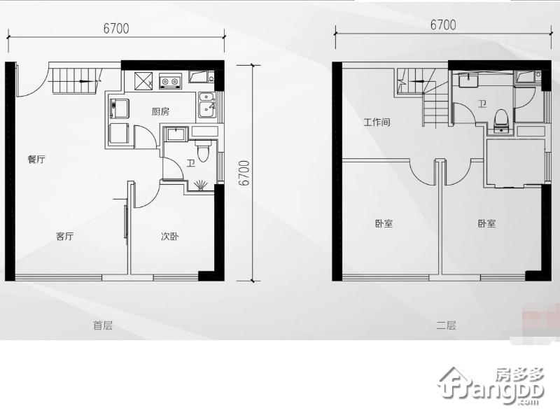 越秀国际总部广场(商用)4室1厅2卫户型图