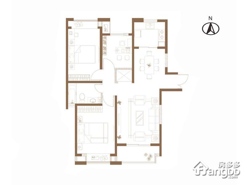 阳光里3室2厅1卫户型图