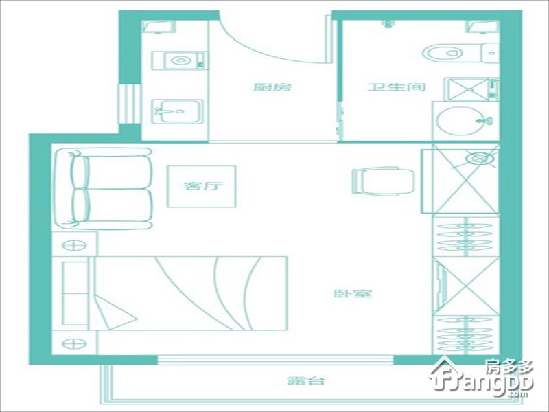 隆基泰和香邑澜湾1室1厅1卫户型图