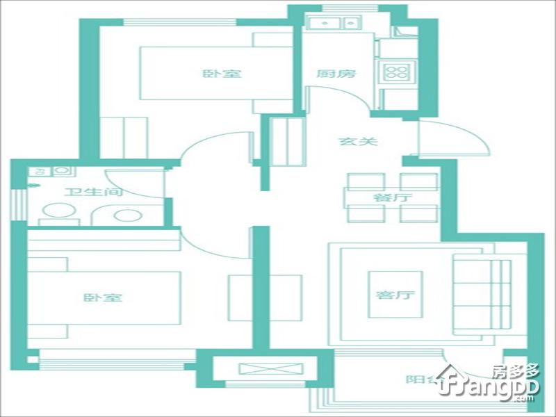 隆基泰和香邑澜湾2室2厅1卫户型图