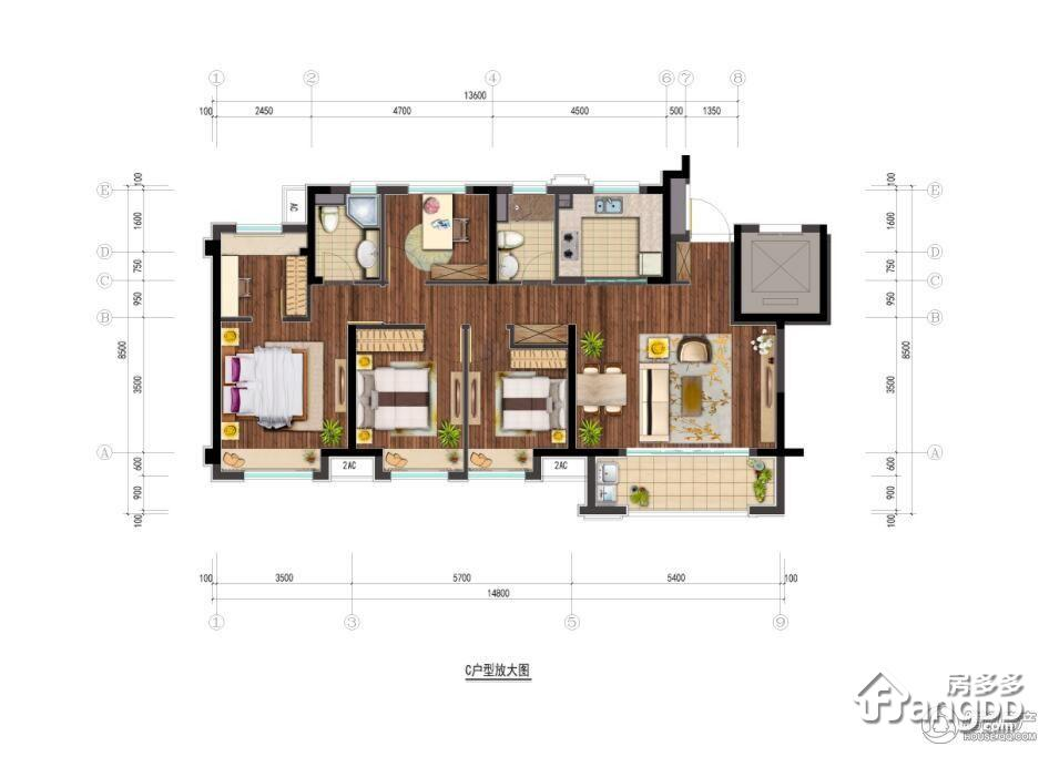 保利玲珑公馆3室2厅2卫户型图