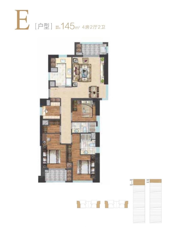 东方悦耀4室2厅2卫户型图