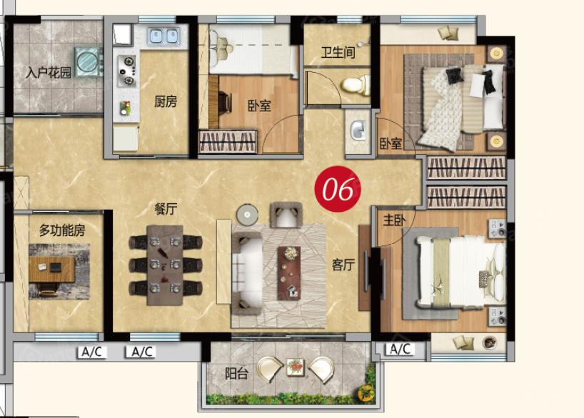 越秀星汇云城4室2厅1卫户型图