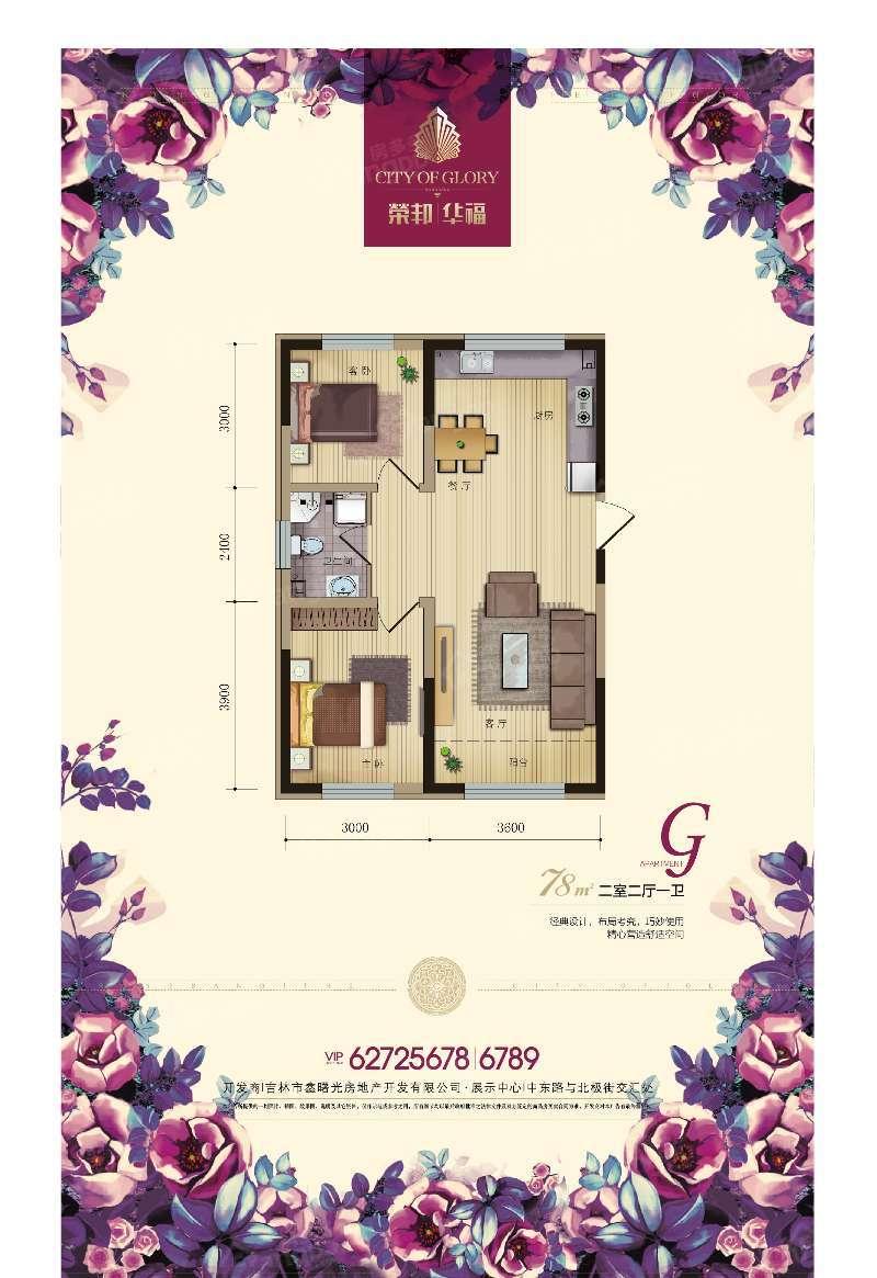 荣邦华福2室2厅1卫户型图