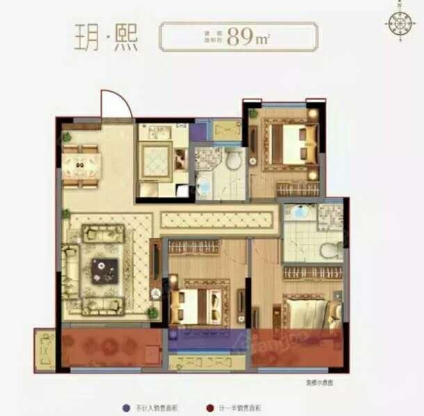 弘阳上熙名苑3室2厅1卫户型图